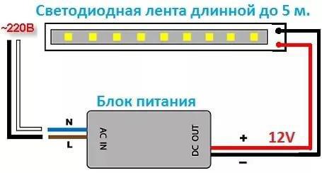 Схема подключения монохромной ленты
