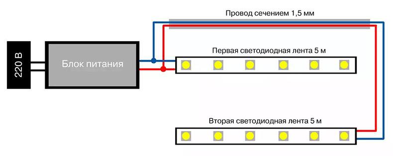 Схема подключения нескольких монохромных лент